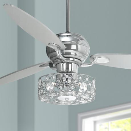 60 Spyder Chrome Ceiling Fan With Crystal Discs Light Kit