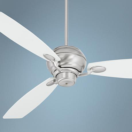 "66"" Spyder White Square Tip - Brushed Steel Ceiling Fan"