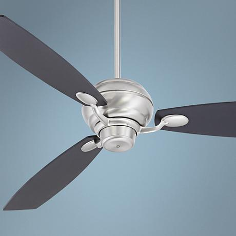 "60"" Spyder Black Square Tip - Brushed Steel Ceiling Fan"
