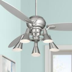 "60"" Spyder™ Brushed Steel Ceiling Fan with 5-Light Kit"