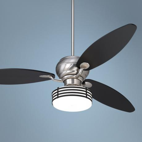 "60"" Casa Optima Brushed Steel Bold Black Stripe Ceiling Fan"