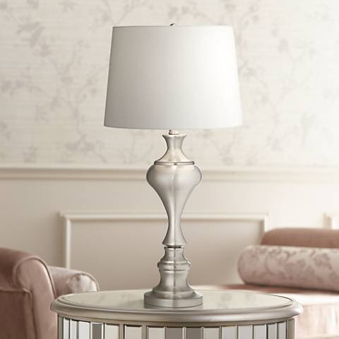 Brushed Steel Urn Table Lamp by Regency Hill