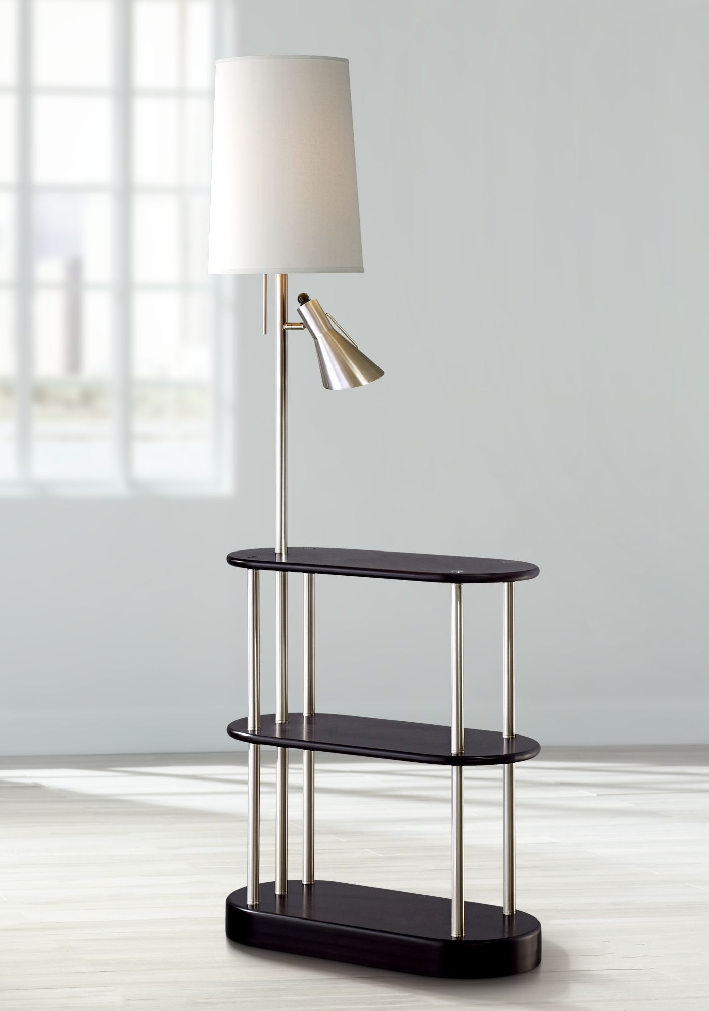 Triple Shelf Brushed Steel Espresso Floor Lamp - #R2602 | Lamps Plus