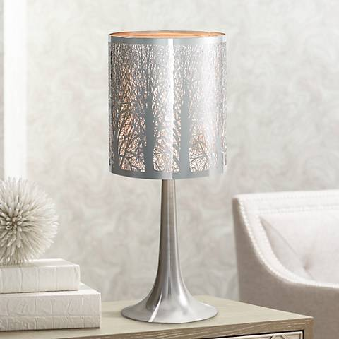 "Possini Euro Design 19"" H Laser-Cut Chrome Accent Table Lamp"