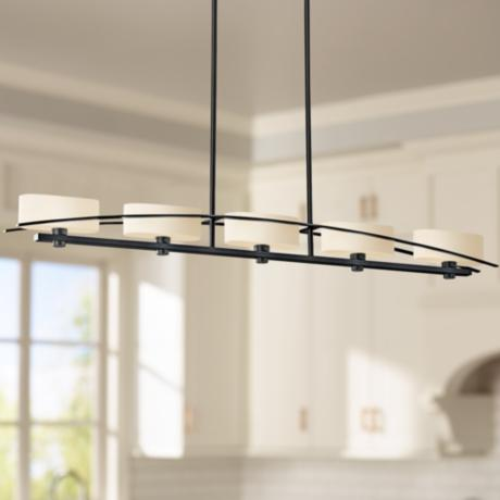 "Suspension Collection Black 50 3/4"" Wide Pendant Chandelier"