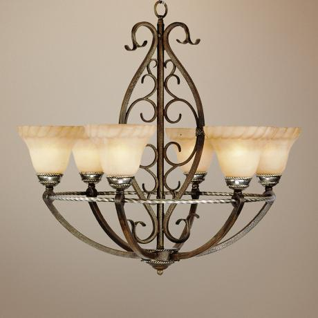 "Wentworth Bronze Crackle 31"" Wide Chandelier"