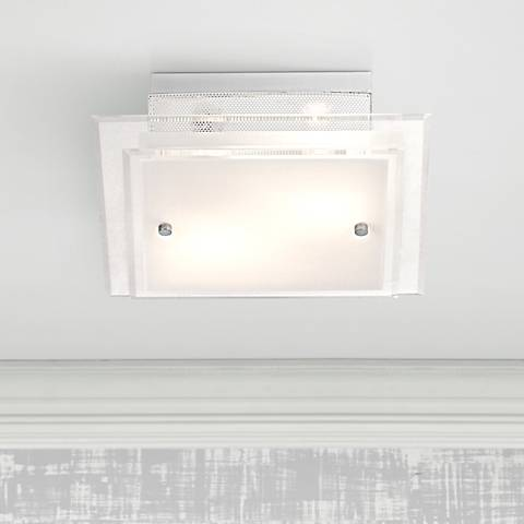 Frosted Glass and White Square Flushmount Ceiling Light