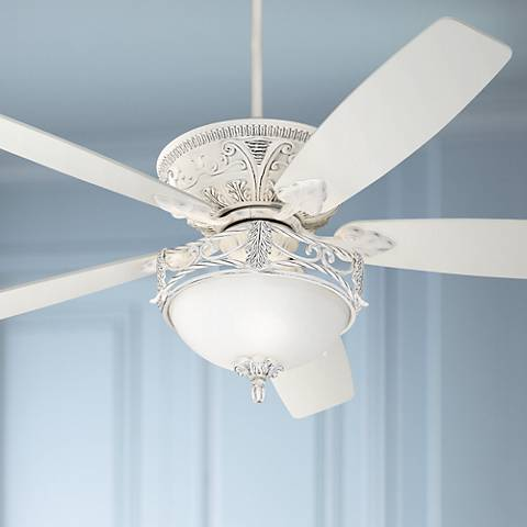 "60"" Casa Vieja Montego Rubbed White Ceiling Fan with Light"