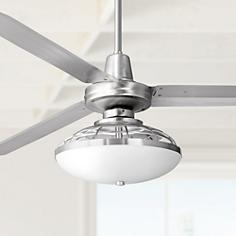 Brushed Steel Contemporary Ceiling Fan With Light Kit
