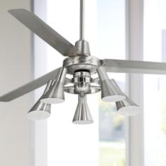 "60"" Casa Vieja Turbina Brushed Steel 5-Light Ceiling Fan"