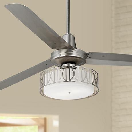 "60"" Casa Vieja Turbina™ Art Deco Brushed Steel Ceiling Fan"