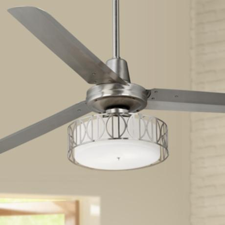 "60"" Casa Vieja Turbina Art Deco Brushed Steel Ceiling Fan"