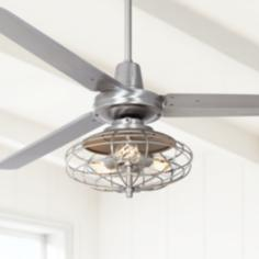 "60"" Casa Vieja™ Turbina Brushed Steel Ceiling Fan"