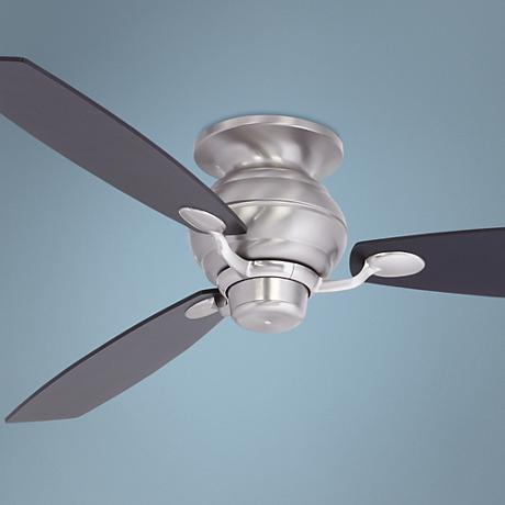 "60"" Spyder Black Square Tip Brushed Steel Hugger Ceiling Fan"