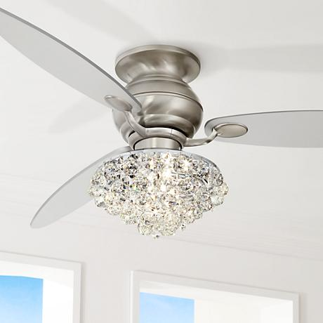 60 spyder brushed steel crystal hugger ceiling fan r4214 t2684 8r575 lamps plus - Girl ceiling fans with chandelier ...