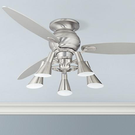 "60"" Spyder™ Hugger Silver Retro Light Ceiling Fan"