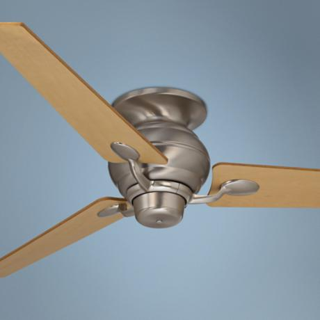 "60"" Spyder Brushed Steel Tapered Blades Hugger Ceiling Fan"