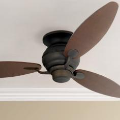 "60"" Spyder Bronze Rounded Walnut Blades Hugger Ceiling Fan"