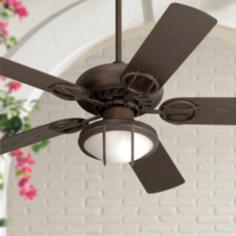"52"" Casa Vieja Bronze Wet Location Ceiling Fan w/ Light Kit"