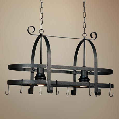 "Artcraft Pot Racks 30""W Black Double Rim Pot Rack Chandelier"