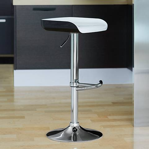 Shift Adjustable Height White and Black Bar Stool