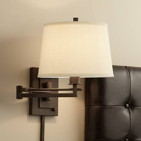 Easley Matte Bronze Plug-In Swing Arm Wall Light