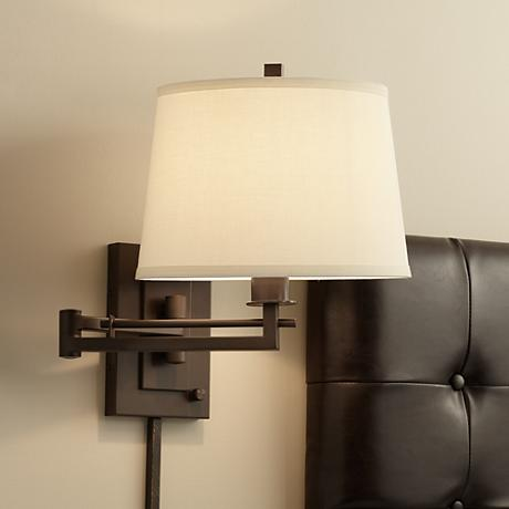 Wall Mounted Bedside Lamp With Plug : Easley Matte Bronze Plug-In Swing Arm Wall Light - #R4625 Lamps Plus