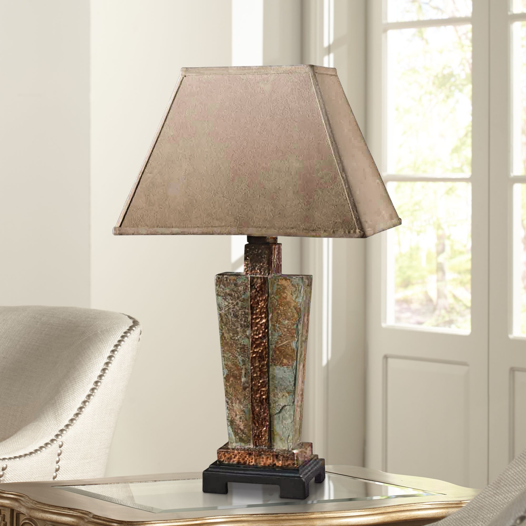 Lovely Uttermost Slate U0026 Copper Indoor Outdoor Table Lamp