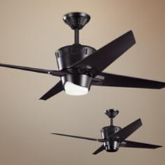 "52"" Kichler Kemble Satin Black Ceiling Fan"