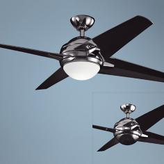 "52"" Kichler Rivetta Midnight Chrome Ceiling Fan"