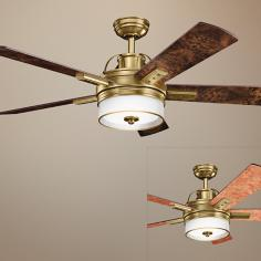 "52"" Kichler Lacey Burnished Antique Brass Ceiling Fan"