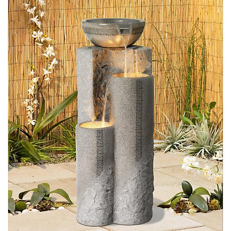 "Faux Marble Bowl & Pillar 34 1/2"" Indoor-Outdoor Fountain"