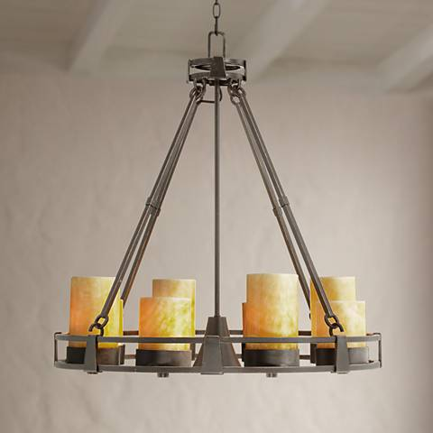 Sunset Onyx Stone 9-Light Faux Candle Chandelier