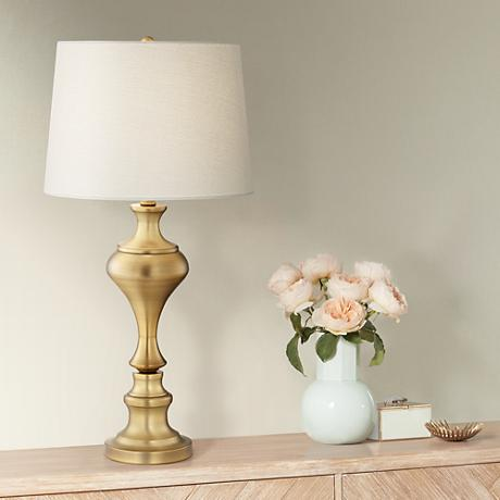 Brushed Brass Modern Candlestick Table Lamp