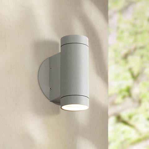 Possini Euro Design Matte Silver Up and Down Wall Light