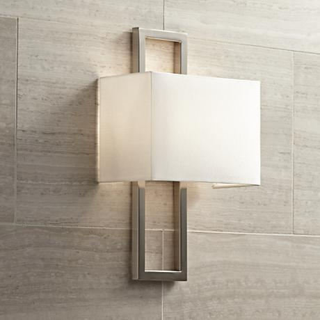 "Possini Euro Brushed Steel 15 1/2""H Rectangular Wall Sconce"