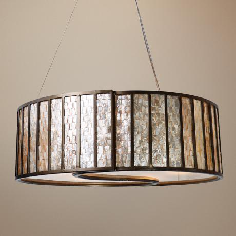 Varaluz Affinity Natural Capiz Shell Drum Pendant Light