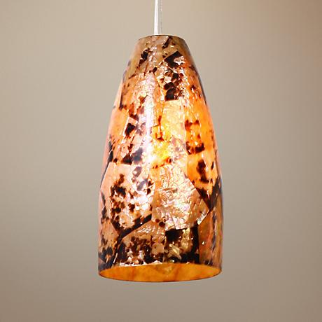 Varaluz Natural Chocolate Tiger Shell Big Mini Pendant Light