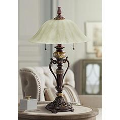 Amor Collection Glass Shade Accent Table Lamp in Bronze