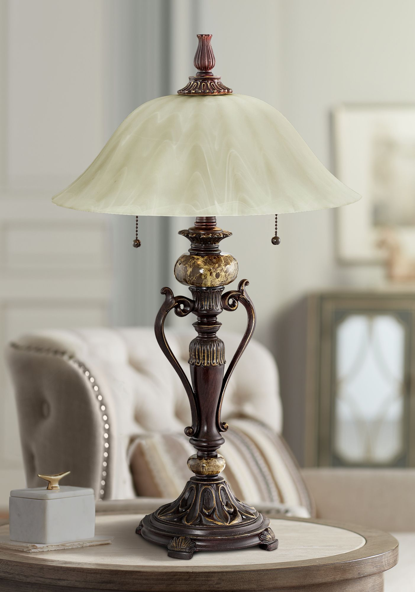 Awesome Amor Collection Glass Shade Accent Table Lamp In Bronze