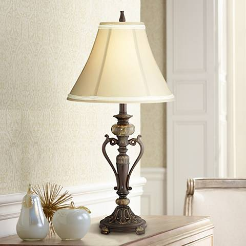 Haley Brushed Steel Mercury Glass Table Lamp 8j923