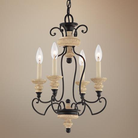 "Quoizel Shelby Sand Bisque 14"" Wide Mini Chandelier"