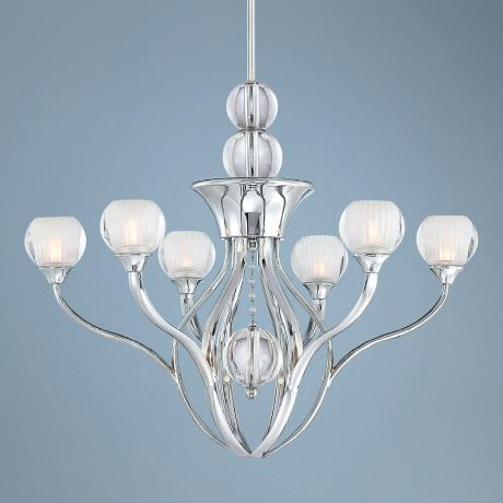 "George Kovacs Chrome Curvy 24"" Wide Chandelier"