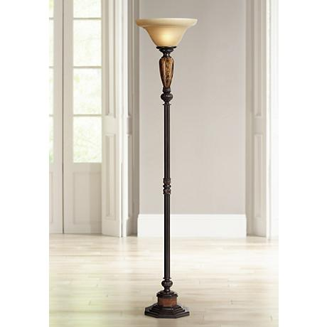 Kathy Ireland Sonnett Alabaster Glass Torchiere Floor Lamp