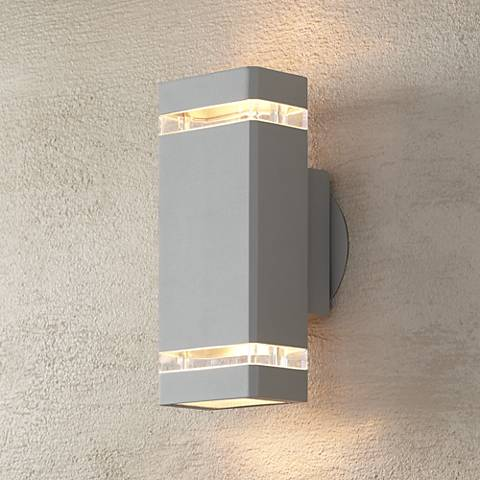 Possini Euro Rectangular Silver Up Down Outdoor Wall Light