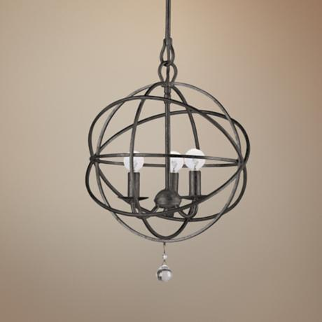 "Crystorama Solaris English Bronze 12"" Wide Pendant Light"