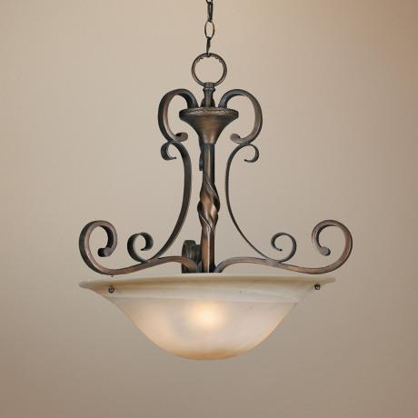 "Meridian Golden Bronze 21 1/4"" Wide  Bowl Pendant Chandelier"