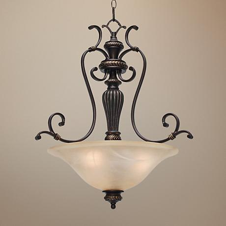 "Jefferson Etruscan Bronze 24"" Wide Bowl Pendant Chandelier"