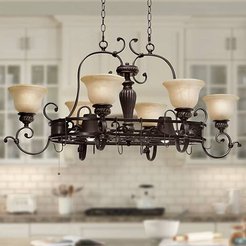 Jefferson Etruscan Bronze 8-Light Island Chandelier