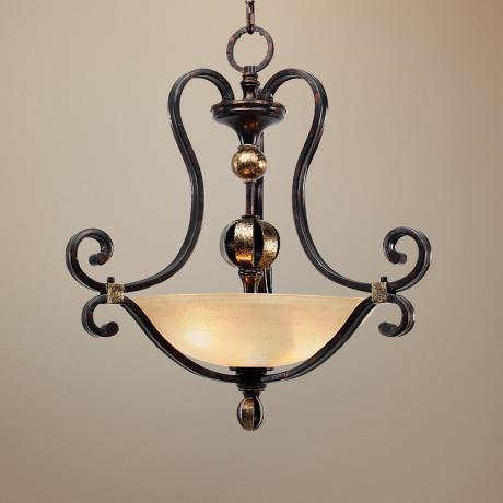 "Portland Fired Bronze 23"" Wide Pendant Chandelier"